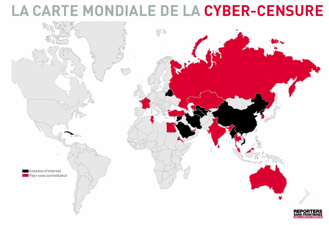 Carte de la cyber-censure - Reporters Sans Frontières.