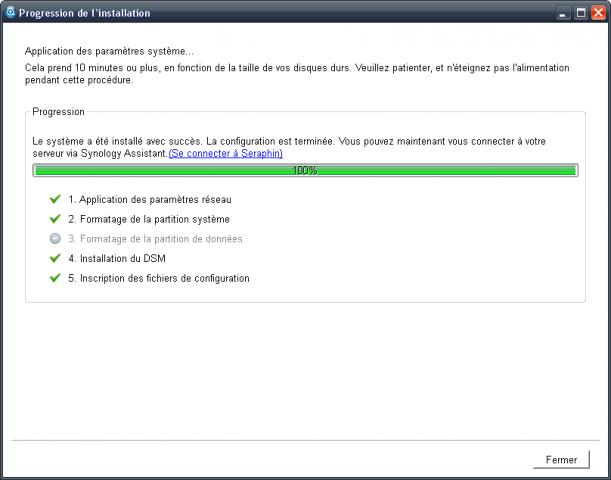 Installation via l'assistant Synology.