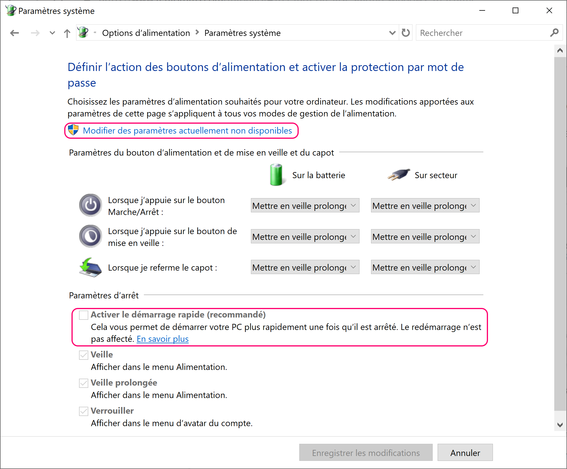 Désactiver le fast boot Windows 10