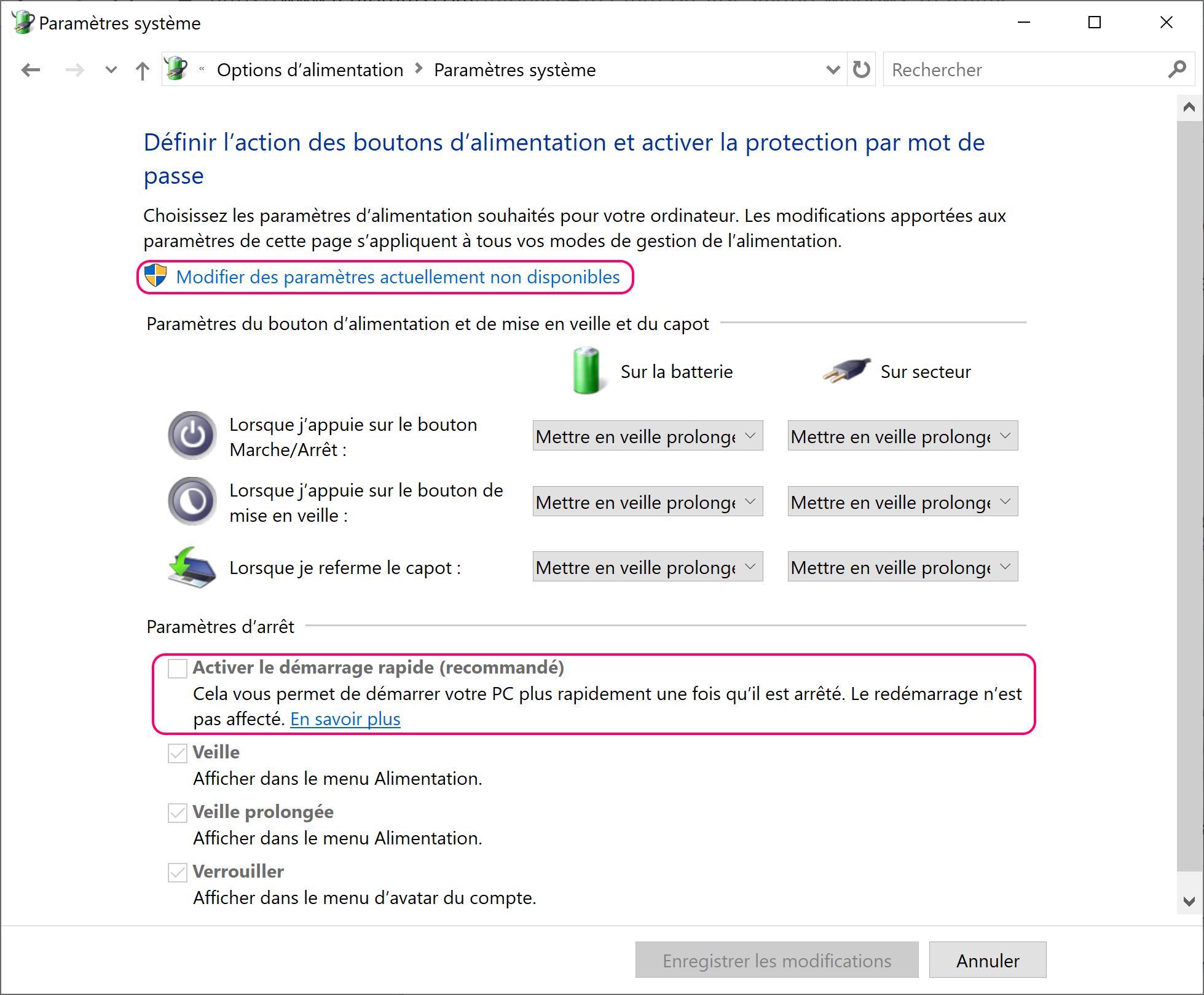Désactiver le fast boot Windows 10